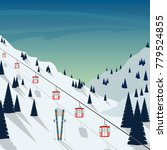 ski resort snow mountain... | Shutterstock .eps vector #779524855