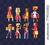 shopping fashionable girls... | Shutterstock .eps vector #779531002