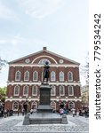Small photo of Boston massachusetts USA 06.09.2017 Samuel Adams monument statue near Faneuil Hall in Boston Massachusetts USA
