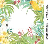 tropical frame with parrots ... | Shutterstock .eps vector #779562202