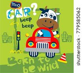 Stock vector cow the driver funny cartoon vector illustration 779585062