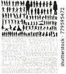 large collection of silhouettes ... | Shutterstock . vector #779595472