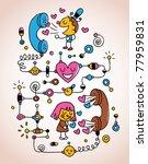 love telephone conversation - stock vector