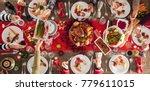 christmas new year dinner group ...   Shutterstock . vector #779611015