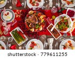 table served for christmas...   Shutterstock . vector #779611255