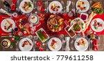 table served for christmas...   Shutterstock . vector #779611258