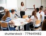 teenage students studying in... | Shutterstock . vector #779645482