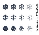 snowflakes signs set. black... | Shutterstock . vector #779649028