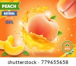 peach juice. realistic splash... | Shutterstock .eps vector #779655658