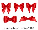 five gift bow  red satin ... | Shutterstock . vector #779659186
