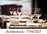 empty glasses in restaurant | Shutterstock . vector #77967337