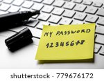 sticky note with weak easy... | Shutterstock . vector #779676172
