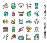 fitness and sport icons set.... | Shutterstock .eps vector #779687665