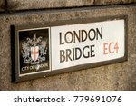 London, United Kingdom - October 30th, 2017:- Sign for London Bridge across the River Thames - stock photo
