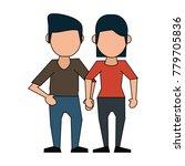 couple faceless avatar cartoon   Shutterstock .eps vector #779705836