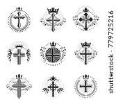 christian crosses emblems set.... | Shutterstock .eps vector #779725216