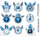 collection of vector heraldic... | Shutterstock .eps vector #779725306