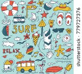 hand draw icon set surfing... | Shutterstock .eps vector #779727376