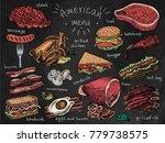 american menu  snack  ham ... | Shutterstock .eps vector #779738575