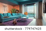 living room near the seaside.... | Shutterstock . vector #779747425