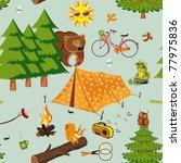 camping seamless pattern | Shutterstock .eps vector #77975836