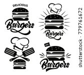 burger logo set with lettering. ... | Shutterstock .eps vector #779761672