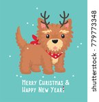 new year icon yorkshire terrier ... | Shutterstock .eps vector #779773348