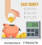 inserting a coin into piggy... | Shutterstock .eps vector #779810278
