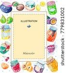 watercolor rectangular frame of ... | Shutterstock . vector #779831002