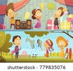 happy kids having fun dancing... | Shutterstock . vector #779835076