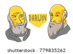 charles darwin in yellow and... | Shutterstock .eps vector #779835262