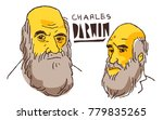 charles darwin in yellow and... | Shutterstock .eps vector #779835265