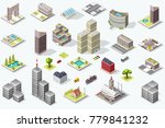 set of isometric city buildings.... | Shutterstock . vector #779841232