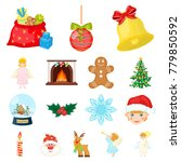 christmas attributes and... | Shutterstock .eps vector #779850592