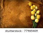 Yellow Tulips On A Golden...