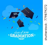 black graduate caps and... | Shutterstock .eps vector #779879272