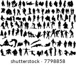 100 silhouettes of the people | Shutterstock .eps vector #7798858