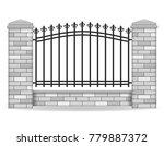 brick fence vector illustration ... | Shutterstock .eps vector #779887372