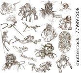 diving. an hand drawn... | Shutterstock . vector #779897308