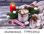 homemade hot chocolate or cocoa ... | Shutterstock . vector #779913412