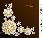 3d branches of golden arabesque ... | Shutterstock .eps vector #779918842