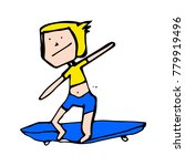 funny doodle child. boy on... | Shutterstock .eps vector #779919496