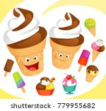 colorful ice creams set | Shutterstock .eps vector #779955682
