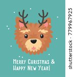 new year icon yorkshire terrier ... | Shutterstock .eps vector #779967925