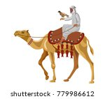 hunter with falcon on camel.... | Shutterstock .eps vector #779986612