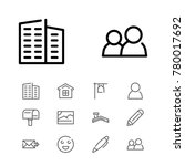 editable icons set with home ...