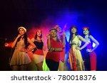 portrait of five  stylish girls ... | Shutterstock . vector #780018376