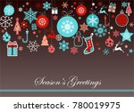 vintage blue and red christmas... | Shutterstock .eps vector #780019975