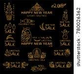 premium golden set of labels ... | Shutterstock .eps vector #780026362