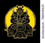 samurai  ready to fight... | Shutterstock .eps vector #780039625